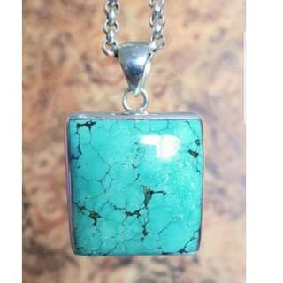 Divine Square Turquoise Pendant, Sterling Silver, Healing