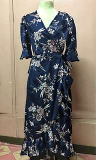 Wrap around blue floral dress