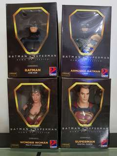 Superman digital clock, batman usb hub and batman lamp