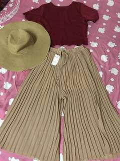 Light brown pleated pants