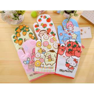 SANRIO OVEN GLOVEN*MITTEN*MICROWAVE*HEAT RESISTANCE*CAN TAKE HIGH HEAT*HELLO KITTY*TWINSTAR*MY MELODY*ORIGINAL