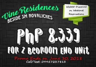 2 Bedroom Corner Unit for Sale beside SM Novaliches (Pre-development Unit)