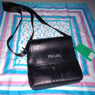 Brand new prada black leather sling bag
