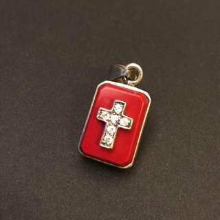 925 gothic style 銀鏈咀紅色十字架