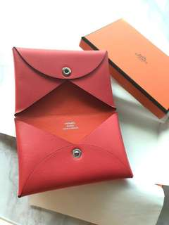 Hermes Calvi Card Holder two color Pink and Orange