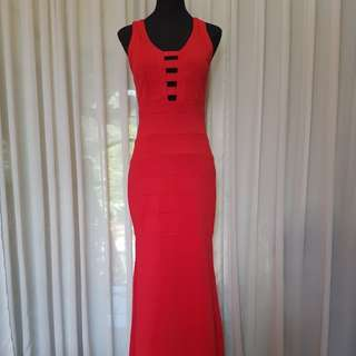 Red Crossback Long Gown FOR RENT