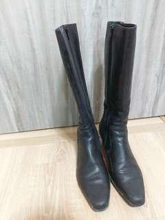 🚚 (搬家拉~二手特拍)原價5000多質感黑色調__方型經典靴23