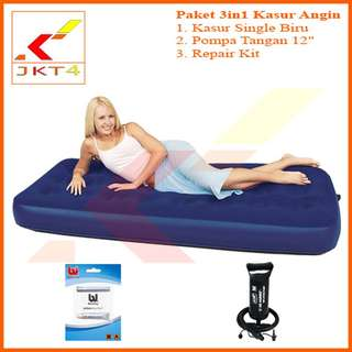 "Kasur Angin Single + Pompa Angin Tangan 12""+Lem"