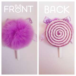 Cute Small Purple Pom Pom Lollipop Keyring