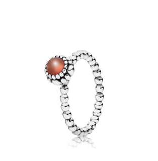 Pandora Carnelian & Silver July Birthstone Ring Size 52