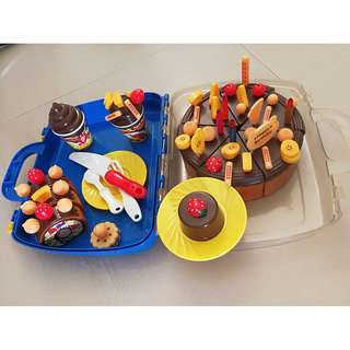 toy kitchen set and cake