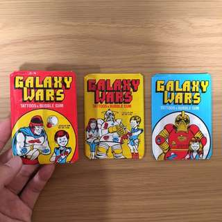 Vintage galaxy wars tattoos and bubble gums collectible
