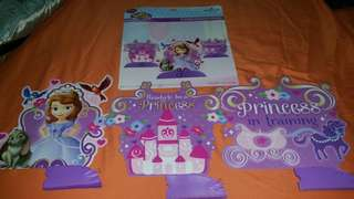 Sofia the First Party Deco - 3 item - Table Cover , Happy Birthday Wording , 3 Mini - Centerpieces