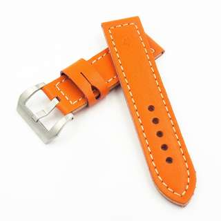 (2470) 全新24mm橙色牛皮通用錶帶配精鋼針扣 合適 Panerai, Seiko, Bell & Ross, Tudor 等等