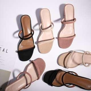 cats_日系 法式溫柔小女人粗跟拖鞋 / 34 - 43碼 / 3色