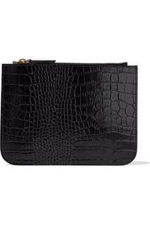 Iris and ink croc leather pouch wallet designer sachet black real leather RRP