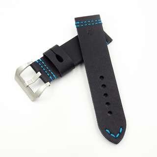(2471) 全新24mm黑色牛皮通用錶帶配精鋼針扣 合適 Panerai, Seiko, Bell & Ross, Tudor 等等
