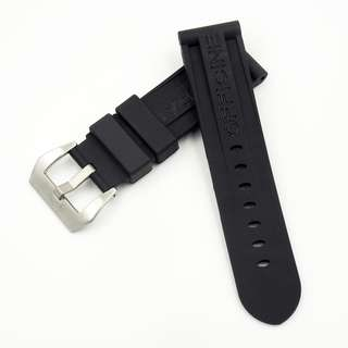 (P027) 全新24mm代用錶帶 防水黑色矽膠通用錶帶 合適 Panerai, Seiko, Bell & Ross, Tudor 等等