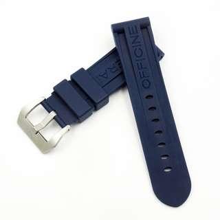 (2472) 全新 Panerai 24mm OEM藍色矽膠代用膠帶配精鋼錶扣 合適 Panerai, Seiko, Bell & Ross, Tudor 等等