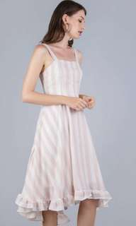 f4464c1e96a LF  TTR Lea Ruffles Hem Dress (Pink Stripes) S