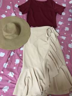 Khaki wrap around skirt