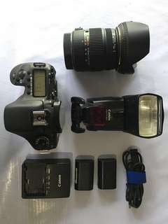 Canon 7d with lens and flash
