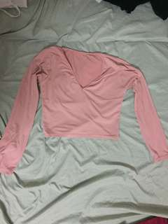 Baby pink crop and long sleeve top