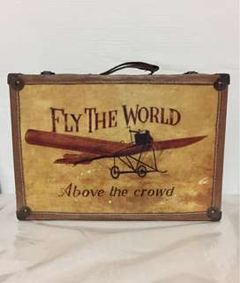Vintage Wooden Box Trunk Luggage Brief Case