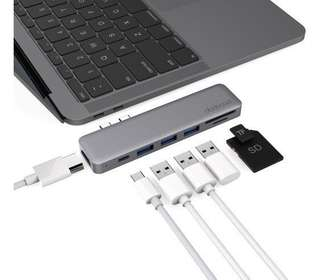 dodocool Hyperdrive 7 in 1 Spacegrey USB C hub adapter with HDMI & SD Card satechi