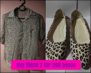 Preloved See-Through Animal Print 3/4 Sleeve Shirt & Doll Shoes