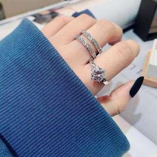 韓國直送 超美仿鑽戒指 (可分拆1變2)只有一隻