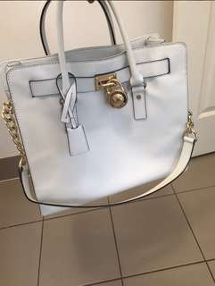 Genuine Michael Kors Hamilton large white tote bag 100% leather