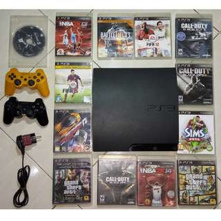 Sony Playstation 3 Slim 160GB PS3 OFW + 13 GAME ORI + 2 DUALSHOCK 3