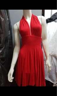 Red deep v dress