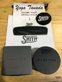 Pomade Smith Clayton Premium clay matte waterbased 1.9oz Free Sisir