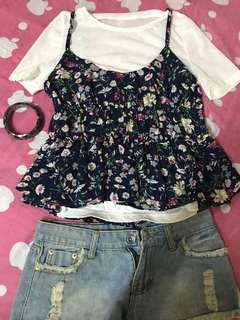 White shirt and floral spaghetti strap top