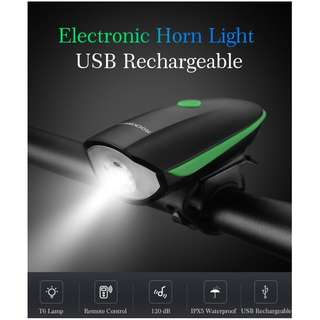 Rockbros 7588 USB Rechargeable Bicycle Light with Horn
