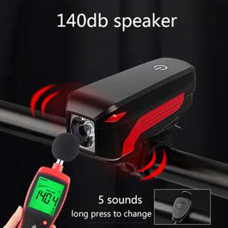 Bicycle USB Rechargeable Light with Horn