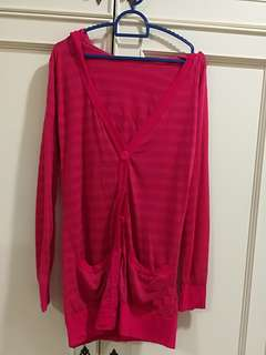 Pink light cardigan with hoodie #july70