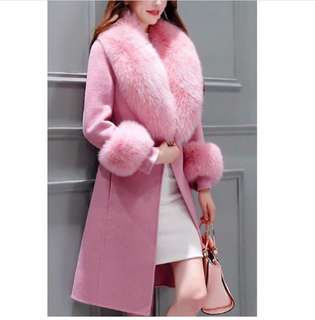 Faux fur trench pink