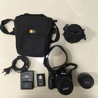 Nikon D3200 with 18-55mm + Nikon 35mm f/1.8G lens + accessories