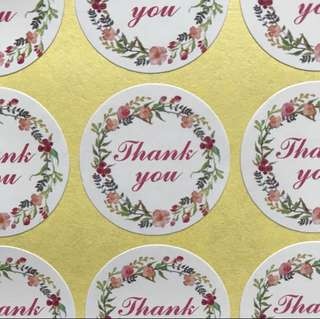 (Free Postage) 80 Thank You Stickers - Thank You Labels