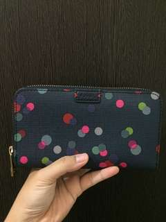 Preloved fossil navy dot wallet