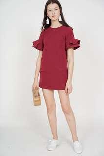 Flared-Sleeved Dress in Oxblood