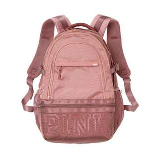 Victoria's Secret Pink Collegiate Backpack Perfectly Pink With Cocoa Powder