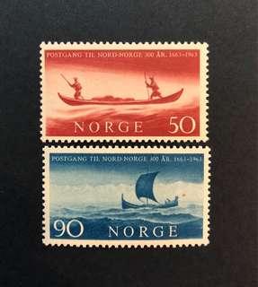 1963年 挪威南北通郵三百週年,2v全,VL/H