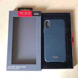 TUMI Leather Wrap Case for iPhone X - Navy