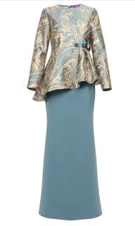 BRAND NEW POPLOOK Premium Lawshawn Blouse & Skirt - Blue Gold Teal