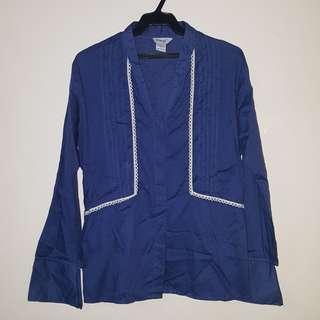 Meg Blue Long Sleeves Blouse
