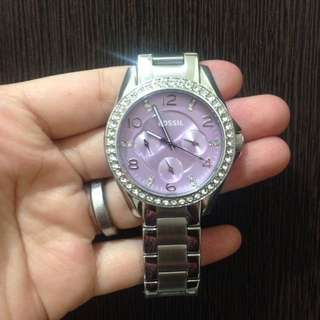 Fossil riley lavender watch